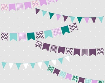 80% OFF SALE Bunting Clipart, Bunting Banner Clipart, Bunting Clip Art, Purple Bunting Clipart