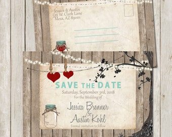 Rustic Mason Jar, Save the Date, Postcard, Lights, Double Sided Save the Date, Mint, Digital File, Printable, 4x6