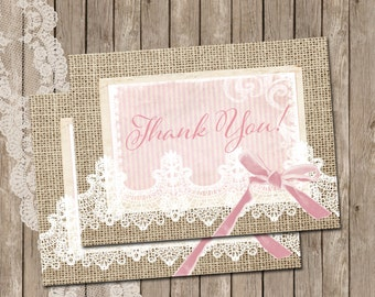 Rustic, Thank You Card, Burlap and Lace, Pink, Printable, 4x5, Instant download