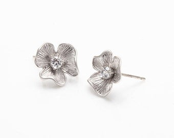 Cubic Flower Post Earring Matte Rhodium- Plated - 2 Pieces [E0024-MR]