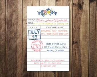 Bookworm Birthday Party, Vintage Library Card Invite, Library Theme Birthday, Book Worm, First Birthday, Shabby Chic Birthday DIY Printable
