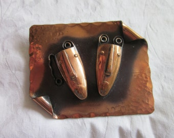 Hammered Copper Brooch