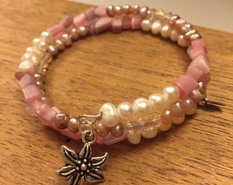 Magnolia Collection Beaded Wrap Memory Wire Bracelet