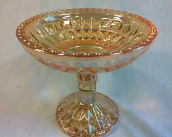 Diamond Pattern Marigold Compote Candy dish,  Jeannette Glass Company,