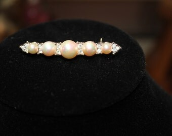 Faux Pearl Bar Pin/Mother's Day/Birthday/Anniversary