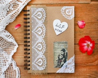 Wedding guest book with pen, Rustic wedding guest book with heart, Personalised wedding vintage book, Country wedding book, Shabby chic book