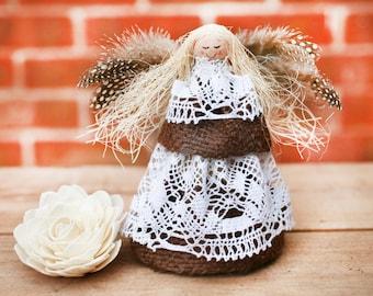 Christmas angel, Romantic country style angel, Burlap angel, Angel wedding decoration, Rustic angel