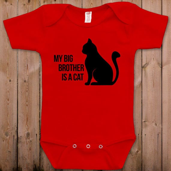 funny baby clothes baby gift my big brother is a cat funny. Black Bedroom Furniture Sets. Home Design Ideas