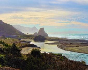 Coastal Highway 101, Ocean, Mountains, Rock Formations, Oregon Coast