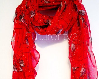 Birds Red / Spring Scarf / Summer Scarf / Autumn Scarf / Gift For Her / Womens Scarves / Gift Ideas / Fashion Accessories
