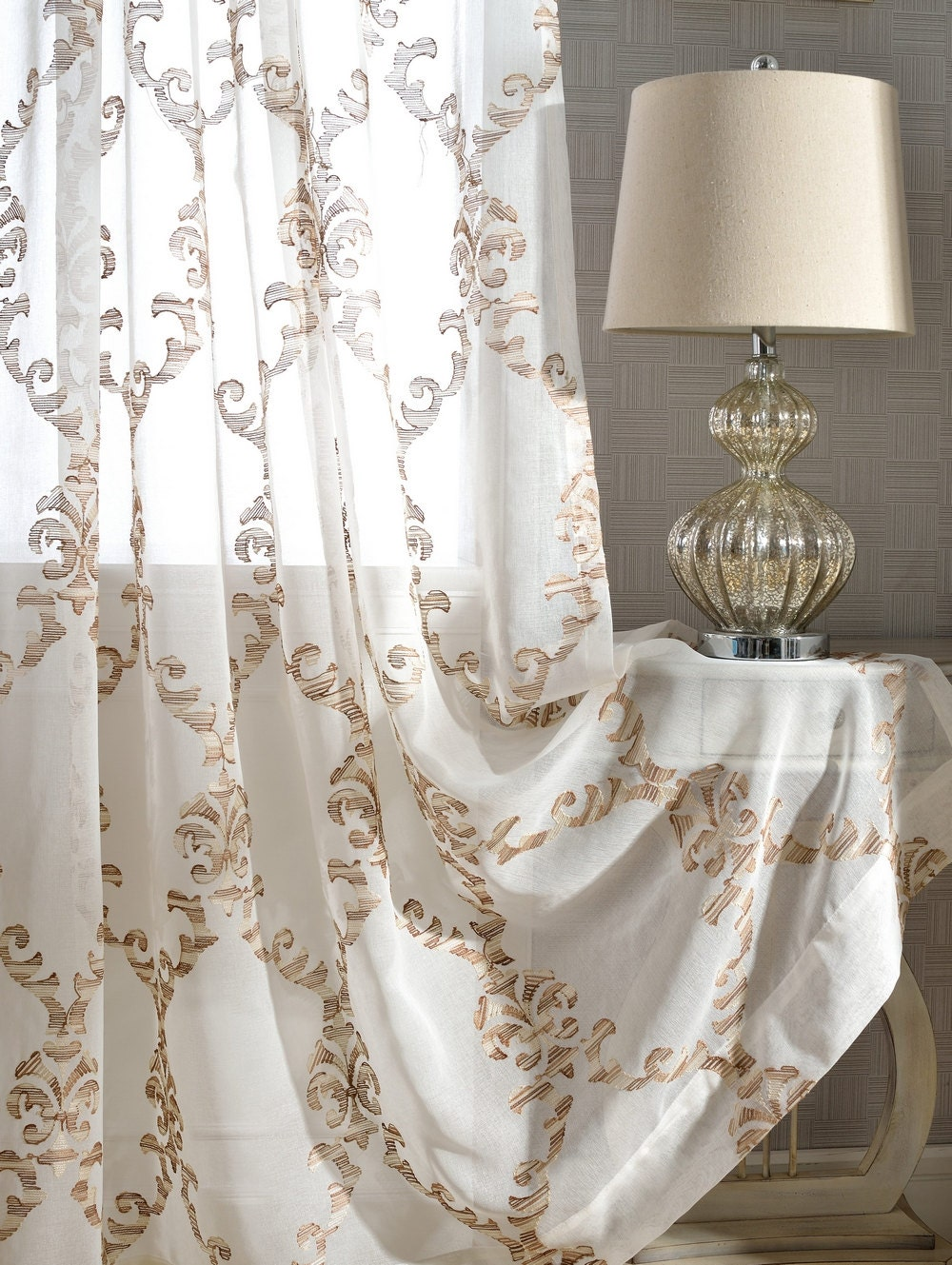 handmade white embroidered sheer curtain made to by tailor2u