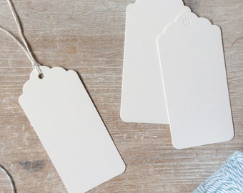 Scalloped White Luggage Gift Tags or Product Labels
