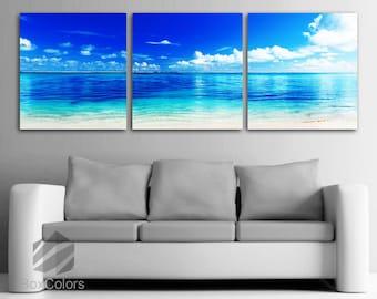 "LARGE 20""x 60"" 3 panels Art Canvas Print  Beach ocean Wall (Included framed 1.5"" depth)"