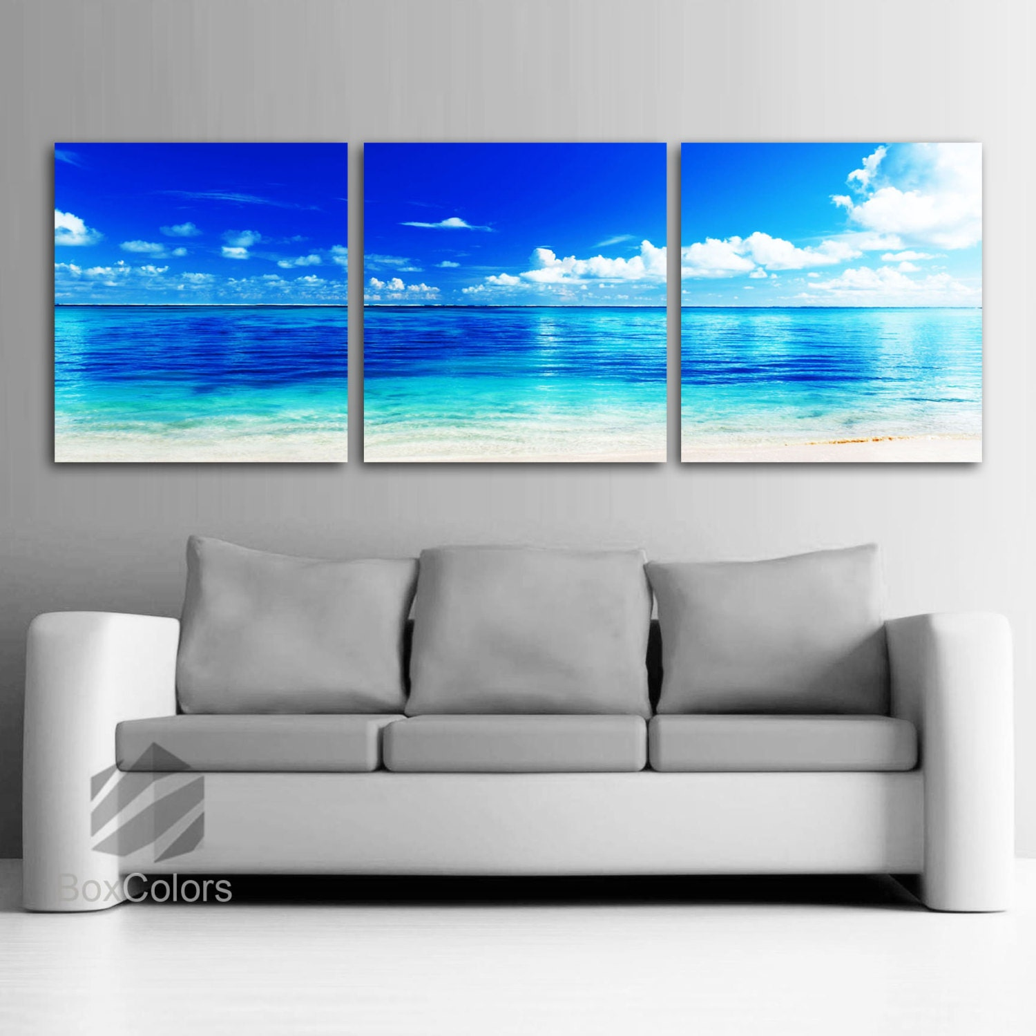 large 20x 60 3 panels art canvas print beach. Black Bedroom Furniture Sets. Home Design Ideas