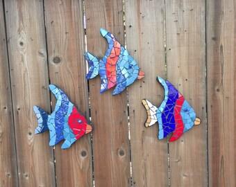 Tropical fish, Outdoor sculptures, fish sculptures, yard ornaments, fence ornaments, tile fish, mosaic fish, wall hangings