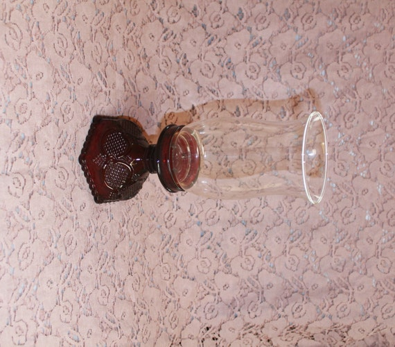 Avon cape cod collection ruby red vintage hurricane candle holder home
