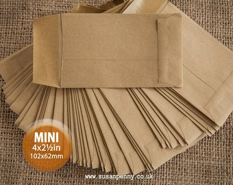 100 Kraft Wedding Favor Envelopes Mini Envelopes Seed Packet Envelope Money Envelope 62x102mm (2 1/2 x 4inchs) - PSS088