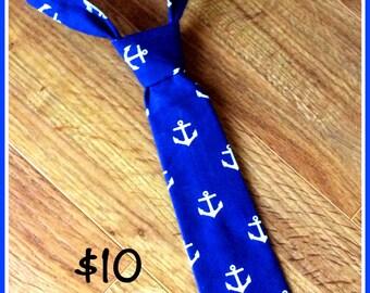 Navy Blue Nautical Anchor Little Boy Necktie, Neck Tie