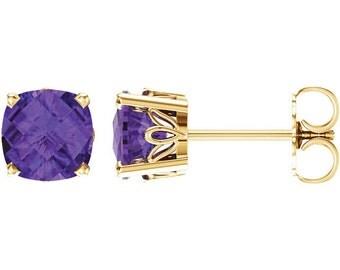 14k Amethyst Earrings, Handmade 6mm Gold Studs Gemstone Stud Earrings 14K White or Yellow Gold February Birthstone Earrings