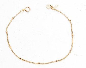 Everyday Bracelet, Simple Bracelet, Satellite Bead, Dainty Chain Bracelet, Personalized Bracelet, Gold Bracelet