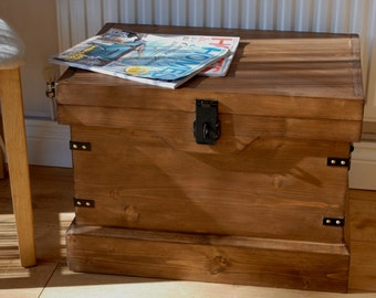 Rustic Wooden Chest Magazine Storage Box or Side Table Vintage Style