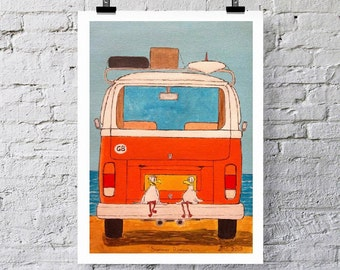 VW camper.  Two seagulls sitting on camper bumper at the beach.  print/greetings card