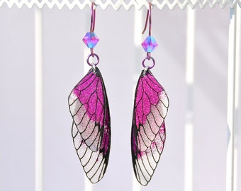 "Fairy wings - fairy wings earrings ""Fairy"" pink - glitter niobium ear hook"