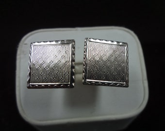 Handsome Vintage Silver tone Square Cuff links