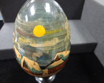 Russian Hand Painted Wood Egg with Winter Scene