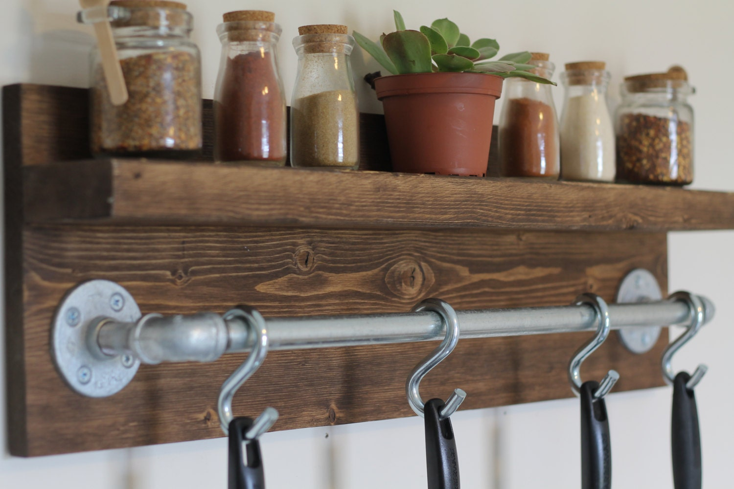 Rustic Industrial Kitchen Pot Rack Gifts For Him Wall Shelf