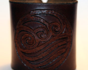 Leather Cuff With Water Tribe Symbol From Avatar The Last Airbender!Great Handmade Bracelet! Great Gift!