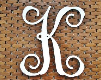 "Letter ""K"" 12-20 Inch Wood Script Monogram. Wood Monogram."