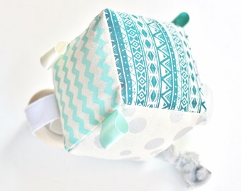 Soft Activity Block Cube - Teal / Silver / Aqua - Baby Toy - Organic