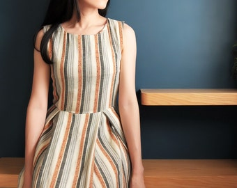 sleeveless linen pinstripe fit-and-flare dress