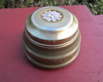 Vintage MUSICAL POWDER BOX Metal Trinket Box