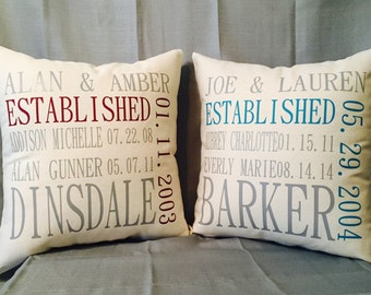 Family Established Pillow Cover