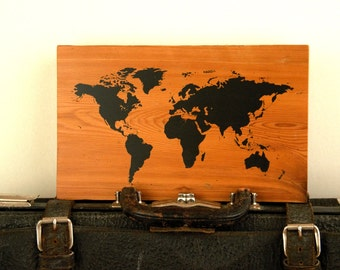"""Push Pin Travel Map of the World on Reclaimed Wood with Pins 8""""x12"""" 