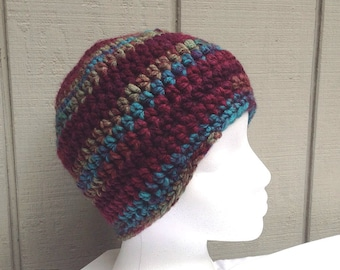 Womens crochet beanie - Crocheted hat - Bulky beanie - Chunky beanie - Teens beanie