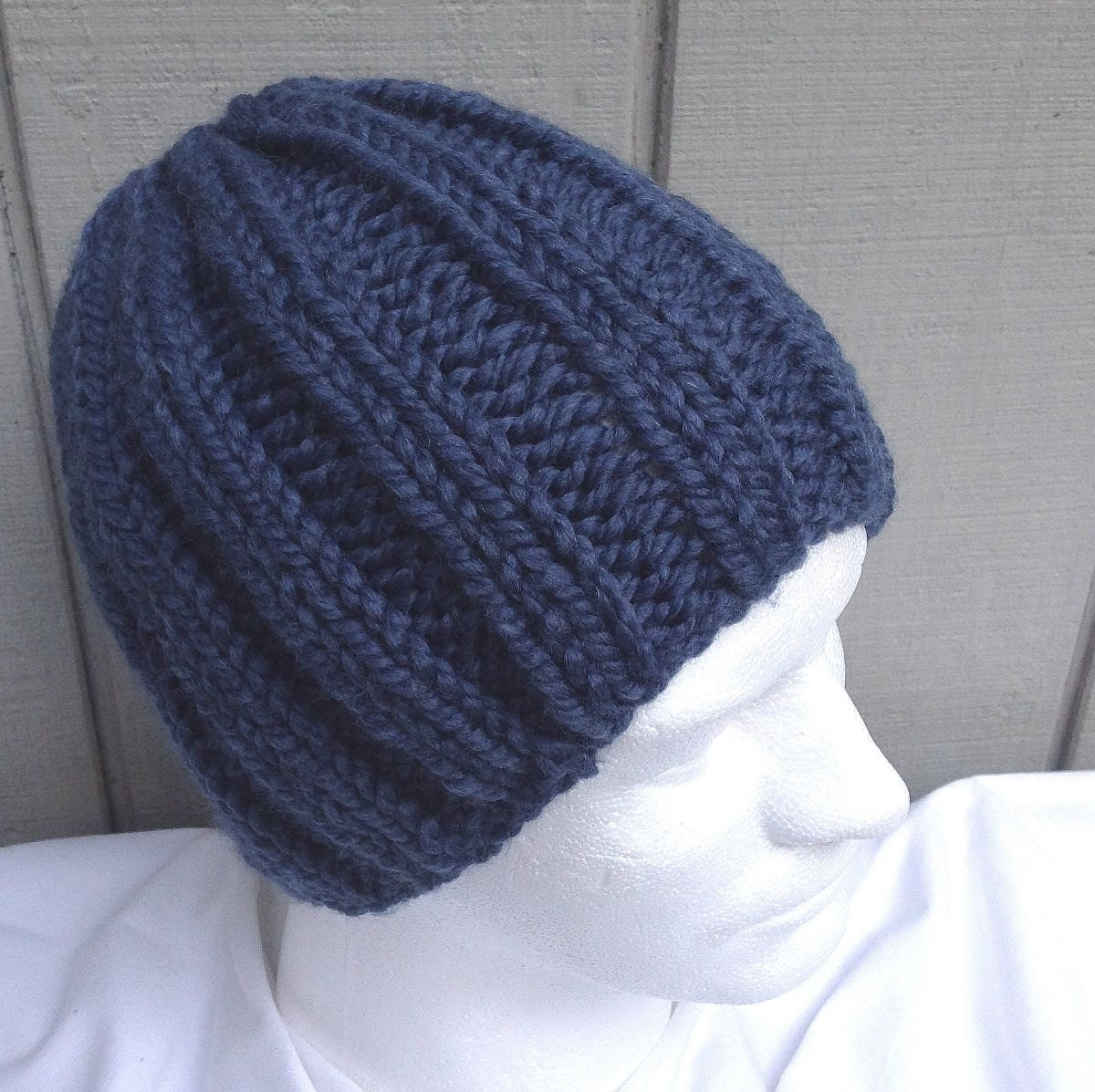 Knitting Pattern Hat Chunky Wool : Chunky knit beanie Super chunky hat Mens wool beanie