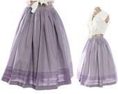 Vintage 50s Full Skirt Lavendar Gingham Checked Skirt High Waisted Skirt Gathered Skirt Womens Rockabilly Fashion 1950s Small S XS