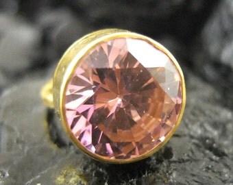 Pendant for  Heather 24K Gold Over 925K Sterling Silver Handmade Large Pink Quartz Ring