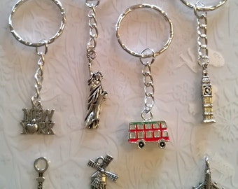 New York Keyring~Paris Keyring~Statue of liberty~bag charm gift~London bus~Big Ben~Eiffel Tower~Tibetan Silver charms