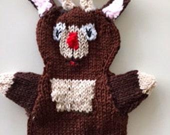 Rudolf the red nose reindeer puppet, handmade reindeer doll, handmade rudolf, hand puppet
