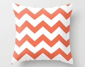 Coral Chevron Pillow Cover - Coral Chevron Pattern Pillow Cover - Modern Throw Pillow - Home Decor - By Aldari Home