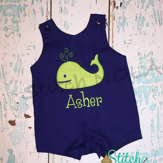Navy Shortall with Whale Applique