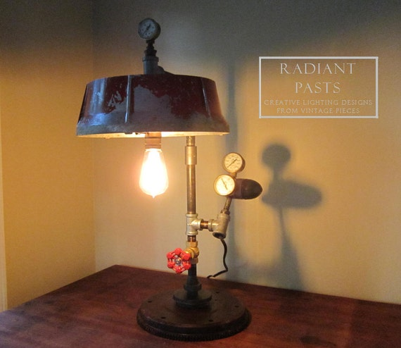 Industrial Steampunk Lamp With Vintage Red Metal Shade