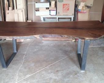 Walnut Live Edge Table, Live Edge Dining Table, Walnut Slab Table, Walnut Live Edge, Steel Legs Live Edge, Rustic Table, Modern Dining Table