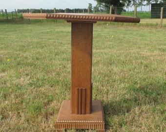 Vintage Carved wood Pedestal Display Side Table Plant Stand Hobnails Pillar foot