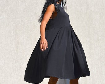 Maternity dress, pregnancy maxi tunic, loose top, plus size black dress, sleeveless everyday dress, oversized women, mid knee cotton dress
