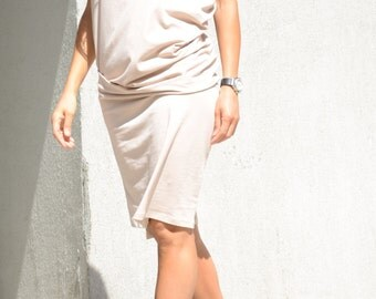Minimalist dress, mid knee, short sleeves tunic, prom dress, midi evening tunic, plus size collection for women, cotton dress for summer